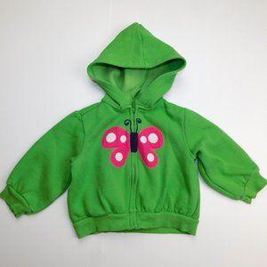 Girls 18-24 months Butterfly Full Zip Hoodie Green